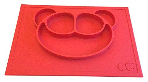 Silicona antideslizante Mesa Mantel individual Set, dividido plato, bol para bebé infantil para cuando en la carretera, cute Bear diseño disponible en varios colores rojo rosso