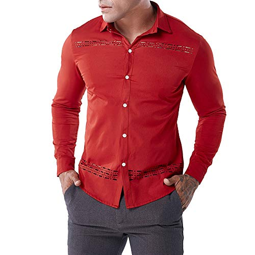 Oliviavan,Mode Herren Herbst Casual Shirts Langarm Shirt Hohle Shirt Top Bluse Hollow Mode Blusen...