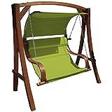 ASS Design Hollywoodschaukel Gartenschaukel MERU aus Holz Lärche inkl. Abdeckung von AS-S, Farbe:Grün