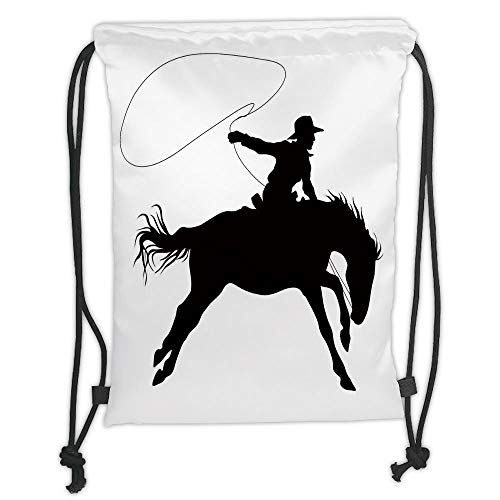 Drawstring Backpacks Bags,Cartoon,Silhouette of Cowboy Riding Horse Rider Rope Sport Country Western Style Art,Black and White Soft Satin,5 Liter Capacity,Adjustable String Closure
