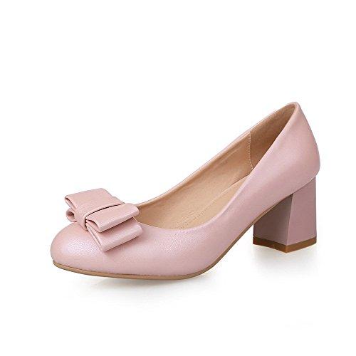 Damen Weiches Material Ziehen auf Rund Zehe Mittler Rein Pumps Schuhe, Weiß, 38 VogueZone009
