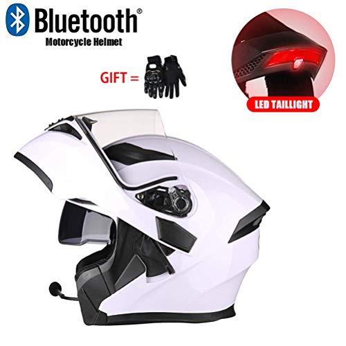 Casco Moto Modulare Bluetooth, con Spia LED, Doppia Lente Antifogging Casco Moto, Plastica di Ingegneria ABS, Lente Antiusura per PC, I Guanti Sono Regali per Te Certificazione ECE