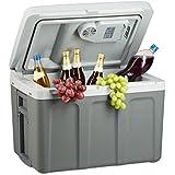 Relaxdays Kühlbox elektrisch zum Ziehen, Warmhaltebox groß 40 l, Kühltasche für Auto und Steckdose A++, 12v 230v, 40 cm hoch, grau