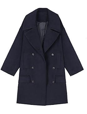 Abrigo De Lana De Mujer Suelta Doble Botonadura Abrigo De Lana Abrigo De Lana De Manga Larga Azul Marino
