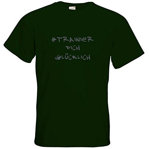 getshirts - Station B3.1 - T-Shirt - #trainierdichglücklich grau Bottle Green