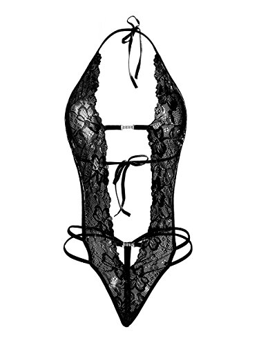 Ypser YPS Biancheria Intima Sexy del Merletto delle Donne Sexy del Merletto della Biancheria Intima di Un Pezzo della Biancheria Intima di Teddy della Bamboletta (M, Nero)