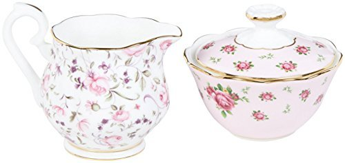 Royal Albert New Country Roses Tea Party Mixed Patterns Mini Creamer & Sugar (Set of 2), Multicolor by Royal Albert - Tea Rose Creamer