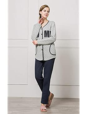 Manica lunga cotone pigiama vestaglia inverno nightwear Ultima donna , gray , m