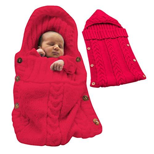 Tomwell Bébé Fille et Garçon Mignon Hiver Gigoteuses Confortable Sac de Couchage Tricoter Double Couche Multicolore pour Nouveau-né 0-12 Mois Rouge 72X35 CM