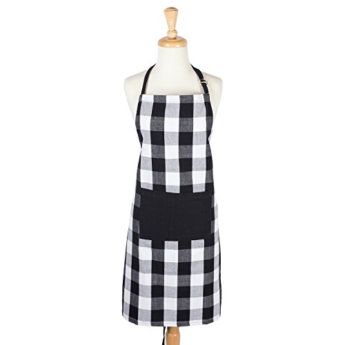 DII Cotton Adjustable Buffalo Check Plaid Apron with Pocket & Extra-Long Ties, 32 x 28', Men and Women Kitchen Apron for Cooking, Baking, Crafting, Gardening, BBQ-Black