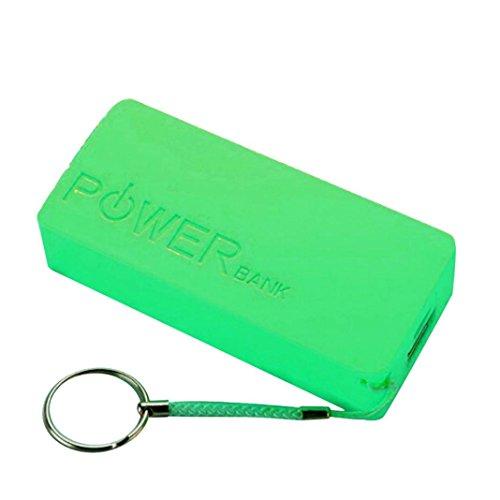 0mAh 2X 18650 USB-Energien-Bank-Aufladeeinheits-Fall DIY Kasten für iPhone Sumsang (Grün) ()