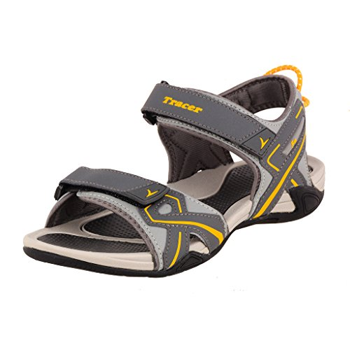 Tracer Men's SD034 Series Grey / Yellow Synthetic Floater Sandals - 10 UK  available at amazon for Rs.1008
