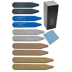 COLLAR AND CUFFS LONDON – 10 Stilvolle Kragenstäbchen – Metall – 5 Farben 5 Größen – 2″ 2.2″ 2.35″ 2.5″ 2.8″ – Silber Schwarz Gold Blau Roségold Farben – Hochwertig – Mit Kunststoffbox – 5 Paare