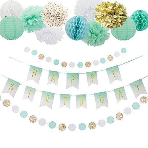 Easy Joy Mint Grün Geburtstag Deko Set Happy BIRDTHDAY Girlande Seidenpapier Pompoms Gold Banner Papier Lampions Minze (Und Mint-grün Gold)