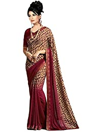 6ae74d2cdf279 Vishnu Creations Georgette Saree With Blouse Piece (A16 Maroon  Pedding Red Free Size)