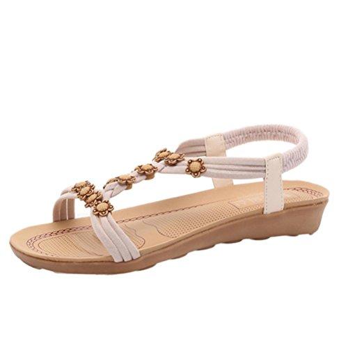 Hunpta Flache Schuhe Bead B枚hmen Freizeit Lady Sandalen Peep Toe Outdoor Damenschuhe Beige