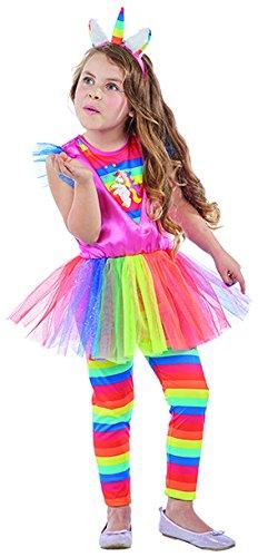 Kinderkostüm buntes Einhorn, Gr.128, Kleid Leggings Haarreif Regenbogen (Pferd Einhorn Für Kostüm)