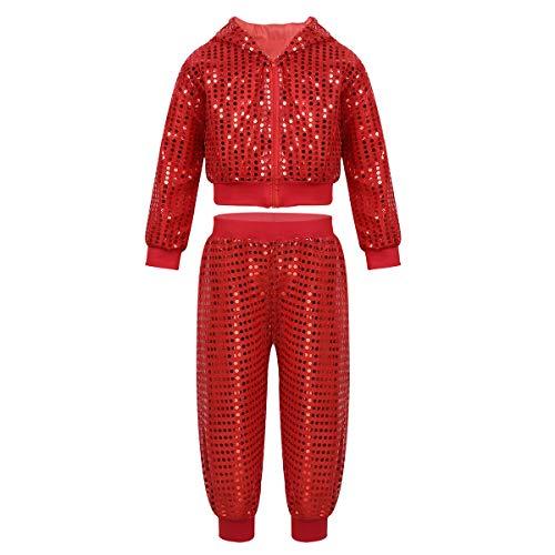 Alvivi Damen Pailletten Haremshose + Langarm Jacke Frauen Jazz Bekleidungsset Tanz Pants Oberteile glänzend Streetwear Club Shirts+Palazzo Hose Rot ()