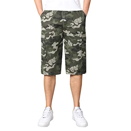 Cargo Shorts Herren Chino Kurze Hose Sommer Bermuda Sport Jogging Training Stretch Fitness Vintage Regular Fit Sweatpants Baumwolle Qmber Camouflage Reißverschluss Sieben Punkt Tasche(Green,2XL) -