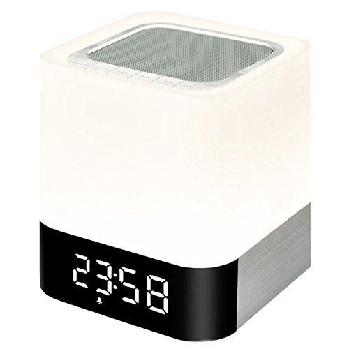LED Wecker Berührungssensor Nachttischlampe,KINGCOO Wireless Bluetooth Lautsprecher Lampe Bewegliche LED Drahtloser Lautsprecher mit Subwoofer Innenlampe fürs Schlafzimmer,Wake-up Light