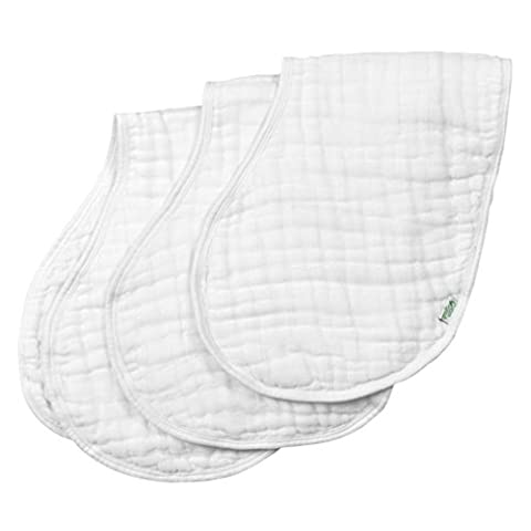 Green sprouts Muslin Organic Burp Cloths (White, Pack of