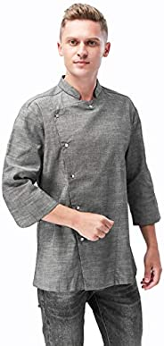 XINFU Mens Chef's Long Sleeved Korean Cuisine and Restaurant Chef's Work Clothes Japanese Kimono C