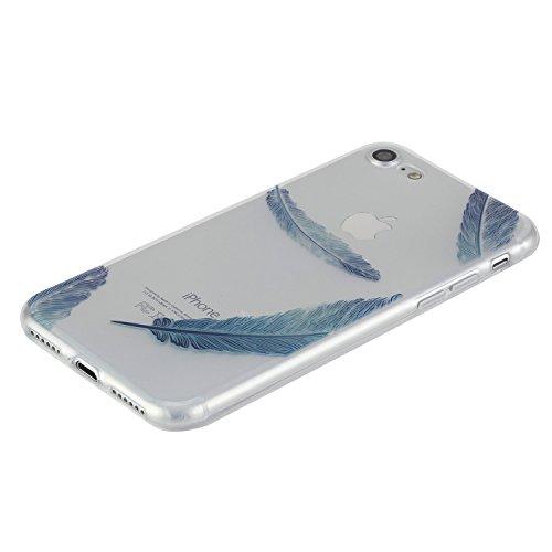 Für Apple iPhone 7 4,7 Zoll,Sunrive® Schutzhülle Etui Hülle transparent weich ultra slim TPU Silikon Rückschale Silicon Cover Tasche Case Bumper Abdeckung Handyhülle(tpu Einhorn)+Gratis Universal Eing tpu Blaue Feder