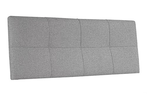 Cabecero tapizado para colgar en dormitorio modelo SQUARE 160 cm tejido Elegance color gris ceniza - Sedutahome