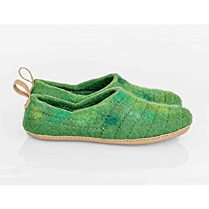 BureBure Damen Wolle Filzschuhe Clogs Hausschuhe mit robusten Nähfläche, handliche Pull-Loop und Leder sohle grün Chartreuse COCOON