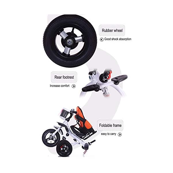 GSDZSY - 4 IN 1 Luxury Children Tricycle, Adjustable Seat, Baby Can Sit Or Lie Flat, Foldable Frame With Shock Absorber, 1-6 Years Old GSDZSY ❀ Material: High carbon steel + ABS + rubber wheel, suitable for children from 1 to 6 years old, maximum load 30 kg ❀ Features: The frame can be folded, the seat can be rotated 360; the backrest can be adjusted, the baby can sit or lie flat, the push rod and the parasol can be adjusted, suitable for different weather conditions ❀ Performance: high carbon steel frame, strong and strong bearing capacity; rubber wheel suitable for all kinds of road conditions, good shock absorption, seat with breathable fabric, baby ride more comfortable 6