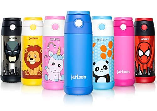 Jarlson Trinkflasche Kinder - Thermo Edelstahl Wasserflasche 350ml - BPA frei - auslaufsicher - Kinderflasche mit Strohhalm - Flasche für Schule, Sport, Kindergarten