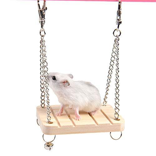 CANGSHUWJ Hamster Spielzeug Hamster HolzhäNgematte Schaukel FüR Haustier Syrische Hamster Rennmaus Ratte Maus KleintierkäFig Spielzeug -