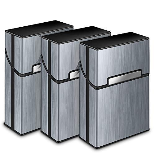 Zigarettenetui, Yosemy 3 Stück Zigarettenbox Metall mit Magnetverschluss, Zigarettenetui aus Alu, Verstärktem Kunststoffgehäuse & Einrast Funktion Für 20er Standard Schachteln (Grau) -