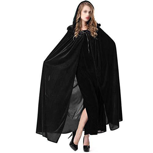 Meliya Full Length Halloween Cloak Long Velvet Hooded Robe Cape Witch Wizard Prince Cosplay Costume (Black, ()