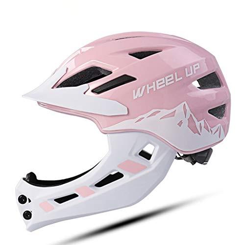 Ldd-tk Integralhelm für Kinder Kinder mit Kinnschutz Fahrradhelm für Mädchen und Jungen Alter 2-6 Jahre Passt Kopfgröße 48-52 (Color : Pink, Size : S)
