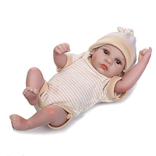 Weiche Mode Reborn Baby Pflege Puppen 11 Zoll kleine Erdnuss voller Silikon Vinyl lebensechte Neugeborenen Puppen + Schlafsäcke für Verkauf Geburtstag Weihnachtsgeschenke, Junge Puppe Portable Angst zu verringern helfen, Autismus schwangere Frauen