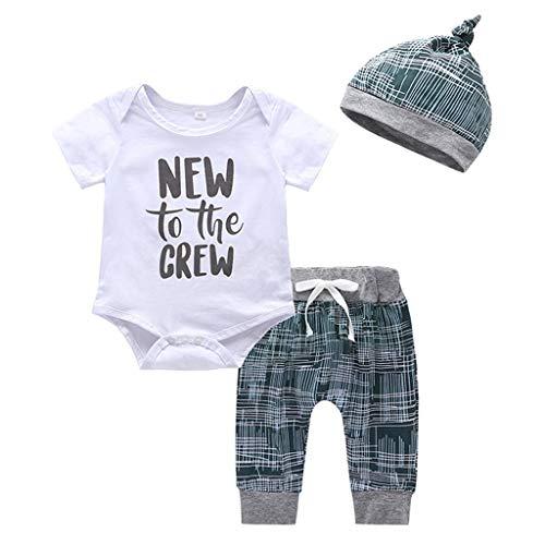 Kinder Unisex Baby 2 Stück Bekleidungsset Herbst,Yanhoo Neugeborenes Baby Jungen Mädchen Elefanten Gestreift Print T-Shirt Tops Set Casaul Kleidung (100, Weiß-3)