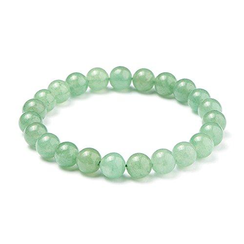 SUNNYCLUE natürliche grüne aventurine jade edelsteine armband stretch 8mm runden perlen über 7' Unisex