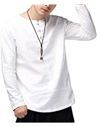 BUSIM Men's Long Sleeve Shirt Chinese Kung Fu Casual Cotton Slim Solid Color Buckle Casual Smart T-Shirt Top Loose...