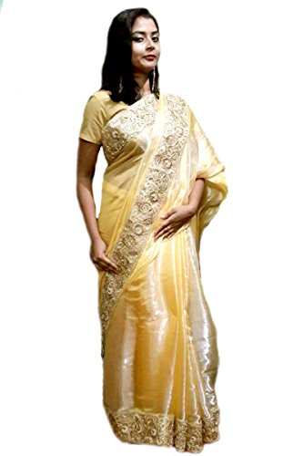 Kautuki Fashions Women's Tissue Saree (SAPAb-b1_Golden_FreeSize)