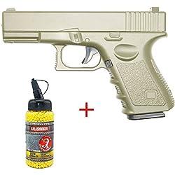 Galaxy Airsoft G.15 Type Glock 17 Culasse Métal à Ressort Couleur Désert Bouteille de Billes 0.12 Offert Forces Spéciales/Swat/Cosplay/Puissance 0.5 Joule