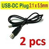 2 pcs USB to DC Plug Connector 2.1x5.5mm 5V Power Supply Cabl