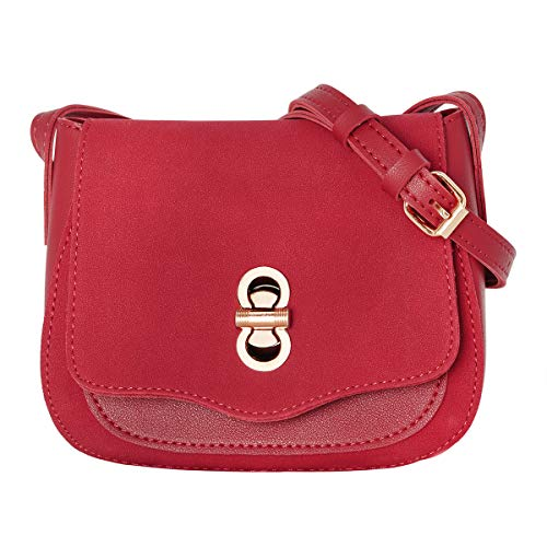 CRAZYCHIC - Damen Kleine Schultertasche Wildleder PU - Umhängetasche Citytasche - Abendtasche Clutch Handtasche - Messenger Bag Vintage Taschen - Frauen Mode Elegant - Rot