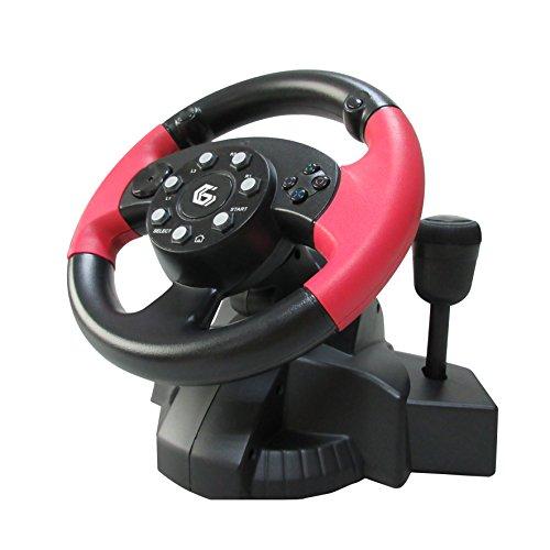 Gembird STR-MV-02 Multi-Interface 4-in-1 Rennlenkrad und Pedale mit Vibration schwarz/rot