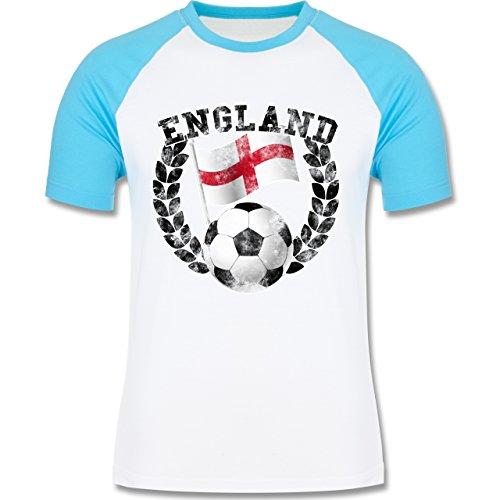EM 2016 - Frankreich - England Flagge & Fußball Vintage - zweifarbiges Baseballshirt für Männer Weiß/Türkis