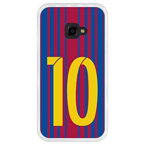 Hapdey silikon Hülle für [Samsung Galaxy Xcover 4] mit gestempelt, Design [Fußballillustration mit Nr. 10] Farbe [Transparenz] Smartphone, Foto