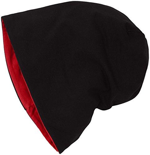 MSTRDS Unisex Erwachsene Strickmütze Jersey Beanie Reversible, Mehrfarbig (Black/Red 10377,4423), One Size (one size) (Großhandel Stirnbänder Und Accessoires)