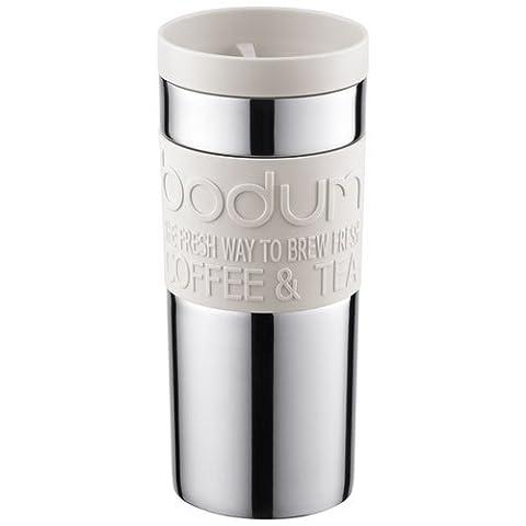 Bodum - 11093-913 - Travel Mug - Mug de Voyage isotherme - Double Paroi Inox - Couvercle à vis - 0.35 L - Blanc