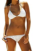 Generic Womens Solid Sexy Bikini Set Backless Two Piece Swimsuit XS White