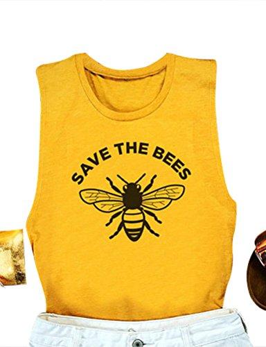 OUNAR Frauen Save The Bees Grafischen T-Shirts Bienen gedruckt Brief drucken Speichern Sie die Bienen T-Shirts Tank